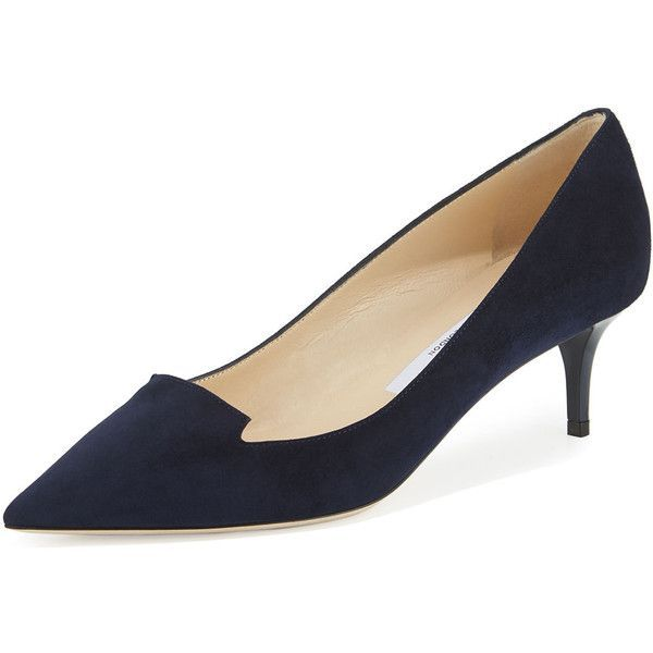 0555f38358ef9 Jimmy Choo Allure Suede Pointed-Toe Loafer Pump (€645) ❤ liked on Polyvore  featuring shoes, navy, pointed toe shoes, navy shoes, slip-on loafers, ...