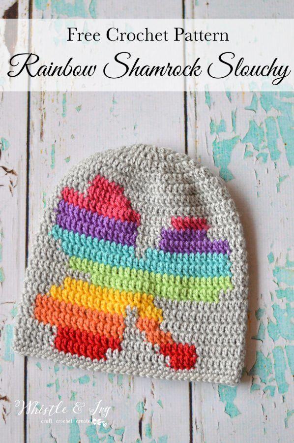 Women Crochet Rainbow Shamrock Slouchy | Gorros, Guantes y Tejido