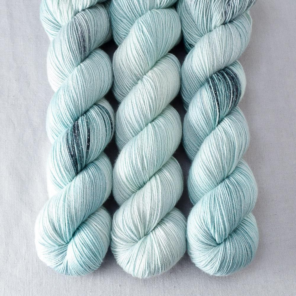 Sea Life is soft seafoam green with occasional splashes of deep kelp green or rocky gray. This colorway is a Babette: every skein and every batch is a bit diffe