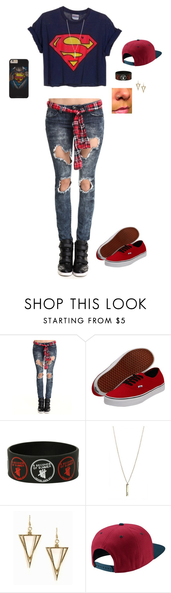 """""""Superman With A Bit Of Swag"""" by hanakdudley ❤ liked on Polyvore featuring Almost Famous, Vans, NLY Accessories and NIKE"""
