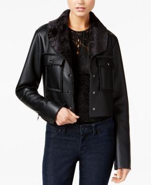 Guess Suki Faux-Fur-Trim Faux-Leather Jacket - Black XL