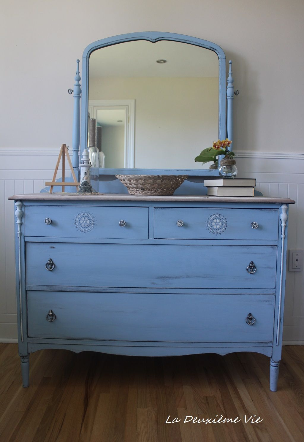 Antique Dresser With Mirror Painted With Annie Sloan Chalk Paint