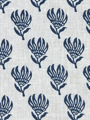 Navy Blue Floral Linen Fabric By The Yard - Navy Blue Floral Linen