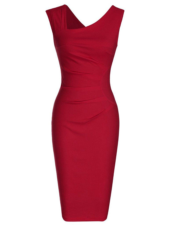 0e020cb16cdc Amazon.com  MUXXN Women s Retro 1950s Style Sleeveless Slim Business Pencil  Dress  Clothing