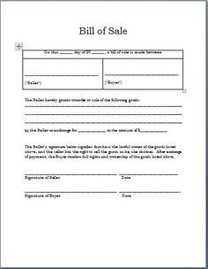 Printable Sample Sample Bill Of Sale Form  Projects To Try