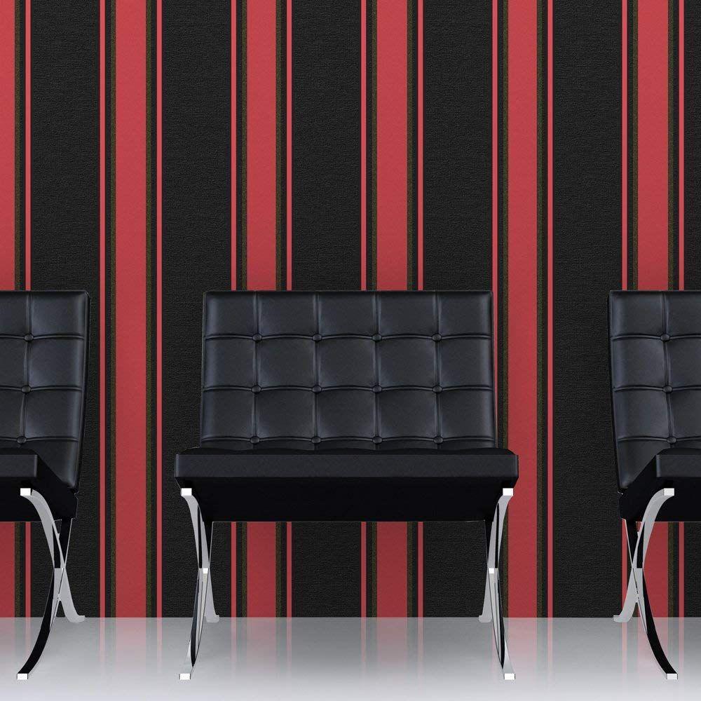 Superfresco Orla Stripe Black/Red/Gold Metallic Textured