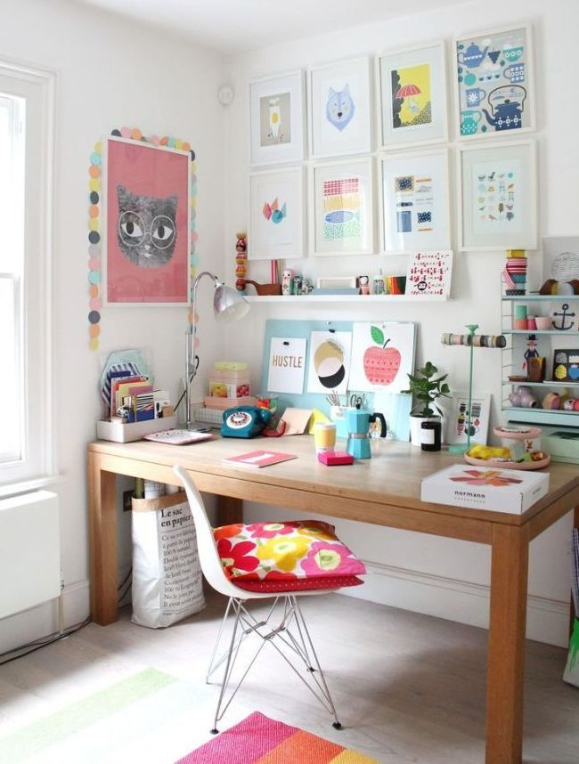 home office colorful girl. Home Office Inspiration. Colorful Girl