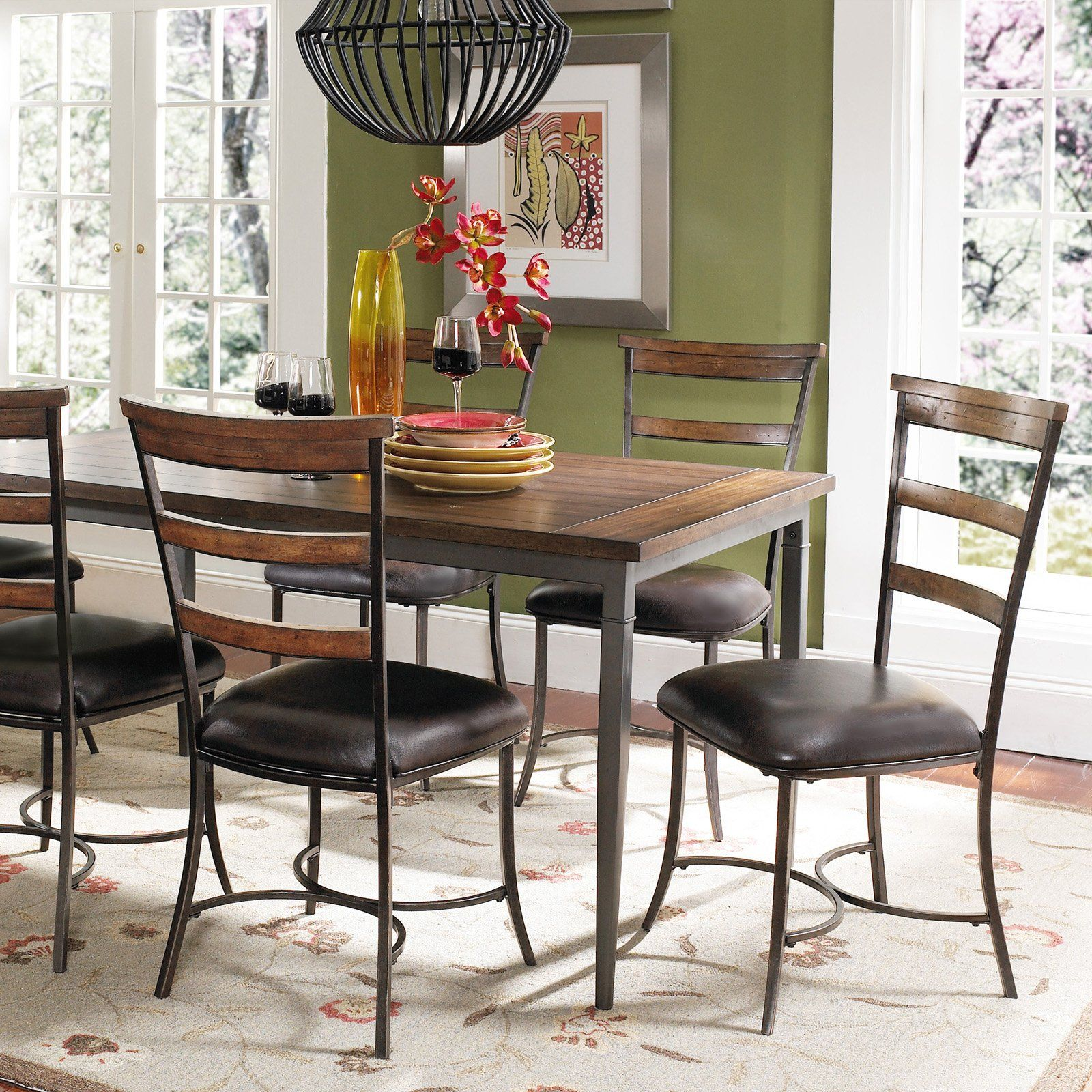 Hillsdale Cameron 7 Pc Rectangle Wood And Metal Dining Table Set With Ladder Back Chairs Metal Dining Table Dining Table In Kitchen Ladder Back Dining Chairs