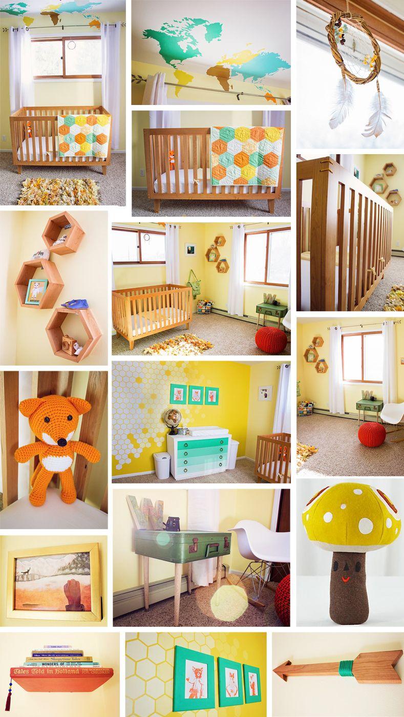 Fantastic Mr Fox Travel Themed Nursery Honeycomb Accents Custom Cherry Wood Crib Map Mural Handmade Suitecase Big Boy Room Small Space Nursery Wood Crib