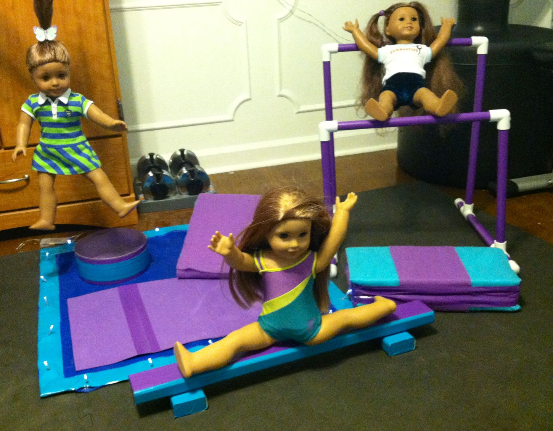 Diy gymnastics gym for mckenna includes uneven bars for Floor gymnastics