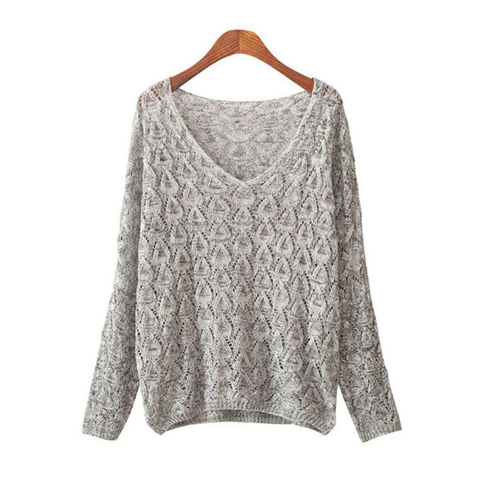 2017 Fashion Deep V Neck Sweater Women Spring Autumn Thin Loose ...