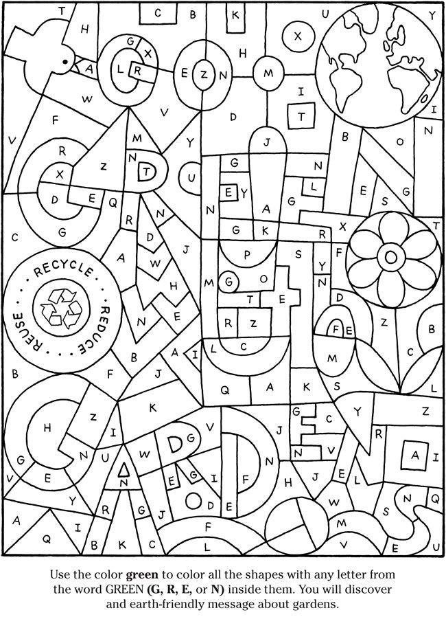 Colouring-in page - sample from u0027Color \ Garden Activity Booku0027 via - new hidden alphabet coloring pages