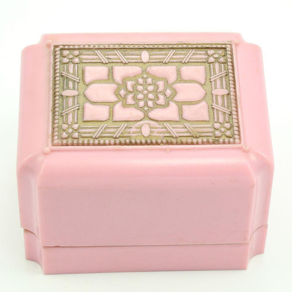 VINTAGE+Pink+Celluloid+Ring+Jewelry+Box+Double+Slot+Warner+Goldtone+Floral+Deco+#Warner