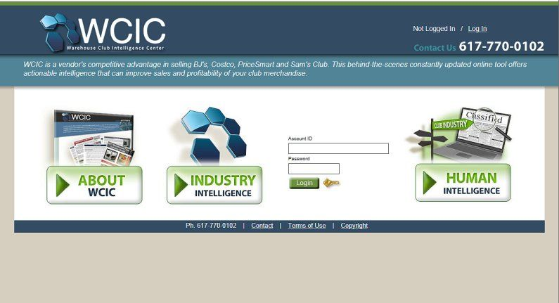 Home page design for subscription website for big-box store intelligence