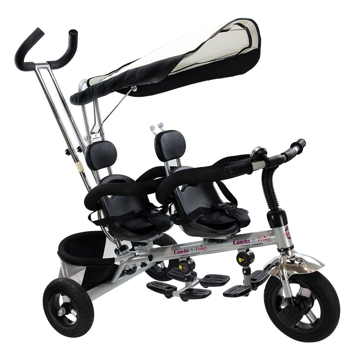4 In 1 Twins Baby Tricycle with Safety Double Rotatable
