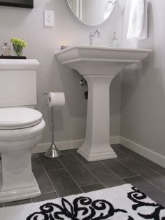Light Grey Walls With Dark Grey Accent Bathrooms Google Search Grey Bathroom Floor Bathroom Floor Tiles Guest Bathroom
