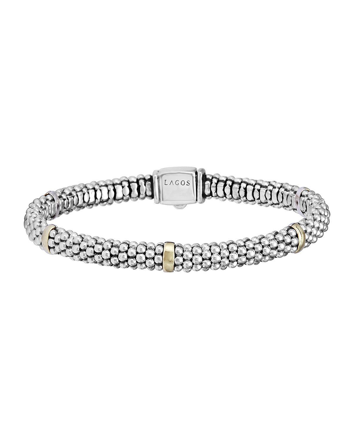 Signature silver caviar bracelet with k gold mm k gold