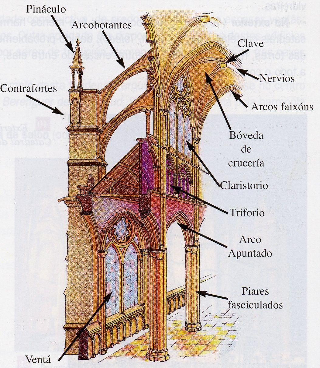 Corte tranversal de una catedral gotica donde se parecia los