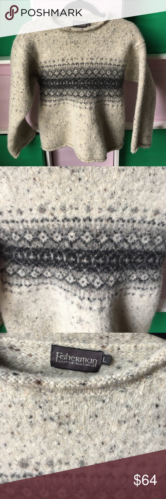 100% wool Fisherman out of Ireland Sweater ☘️ Luck o the Irish in this beautiful 100% pure new wool sweater. Beautiful grey celtic design. No piling. Soft. Purchased in Ireland. Lovely for any emerald isle wanderer or lover fisherman out of ireland Sweaters