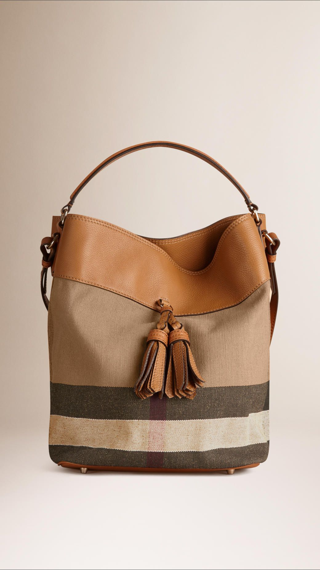 da6274616c61 The Ashby in Canvas check and leather with detachable purse pocket.  Featuring hand-painted edges and leather tassels