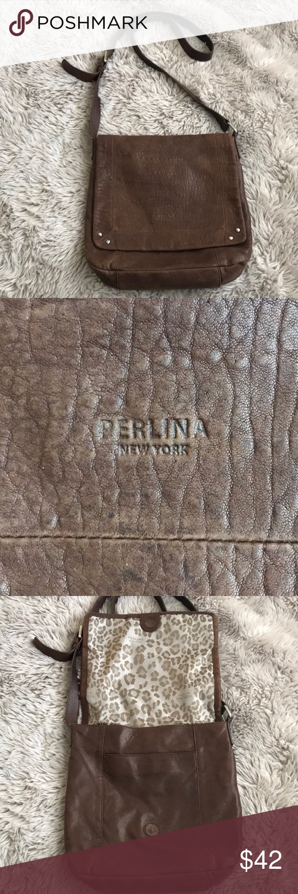 Perlina New York Crossbody Brown Leather Bag Beautiful Pre Loved Purse From In Supple The Is So Soft But