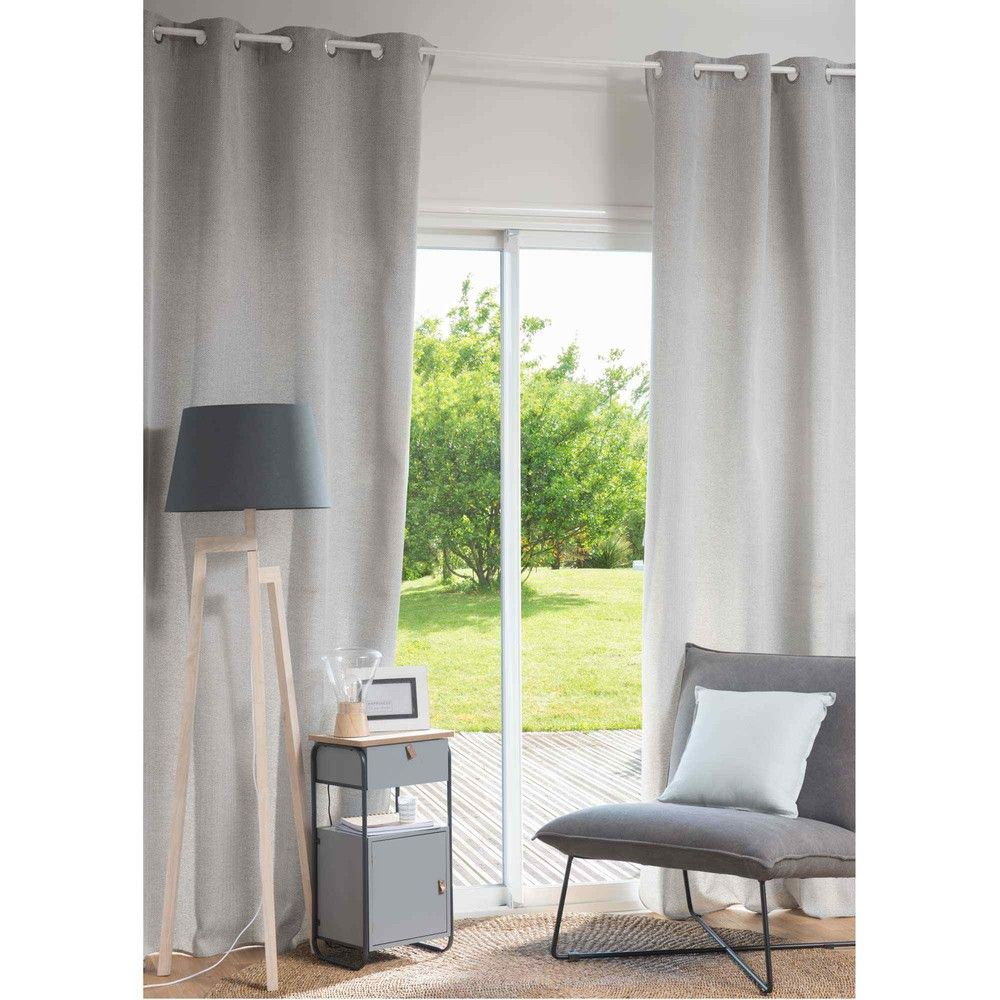 rideau illets en polyester gris 140x270cm maisons du monde