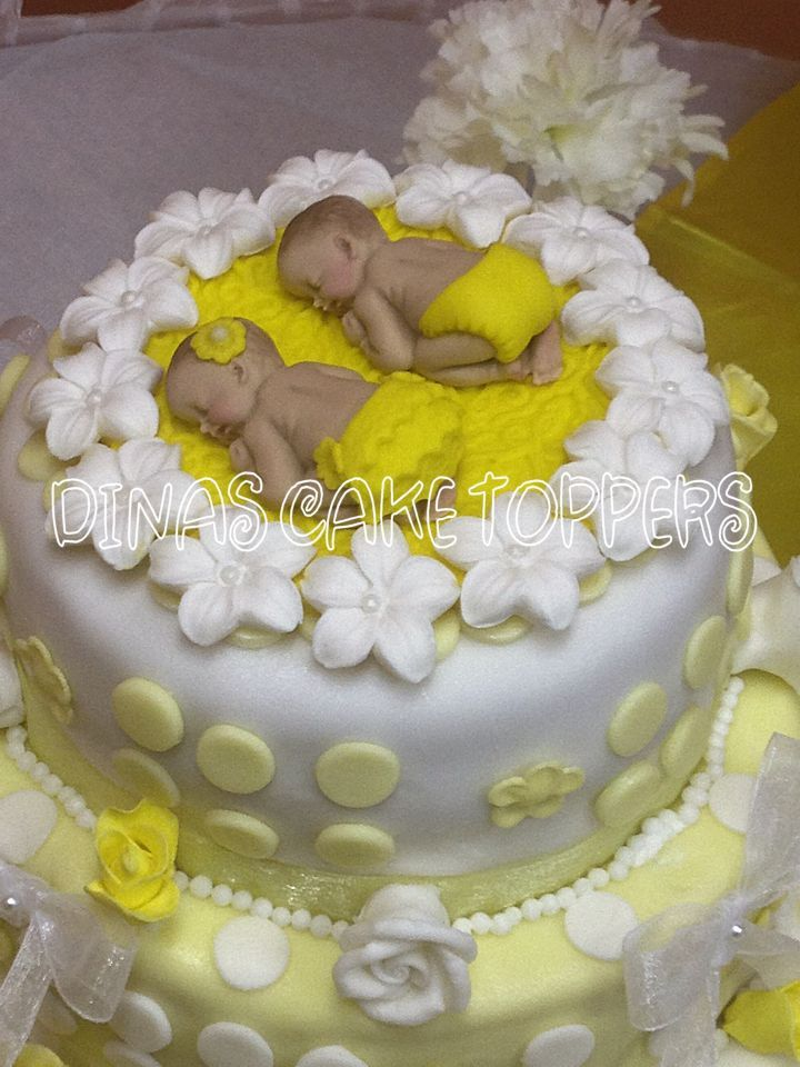 baby girl's first birthday | Twins girl boy yellow baby Shower First Birthday FONDANT BOY Cake ...