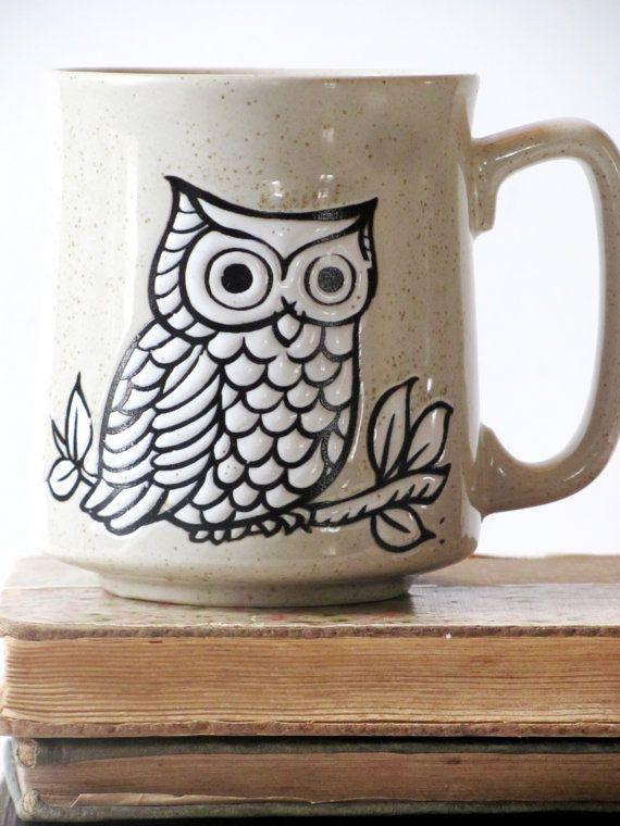 Vintage Owl Coffee Mug, Owl Lover Gift, Owl Collectible, Owl Decor ...