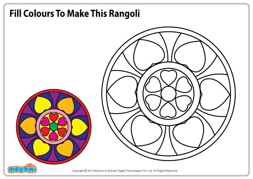 Rangoli Pattern - Colouring Pages for Kids | Crayons, Rangoli ...