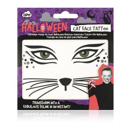 Halloween Cat Face Tattoo - Halloween - Featured