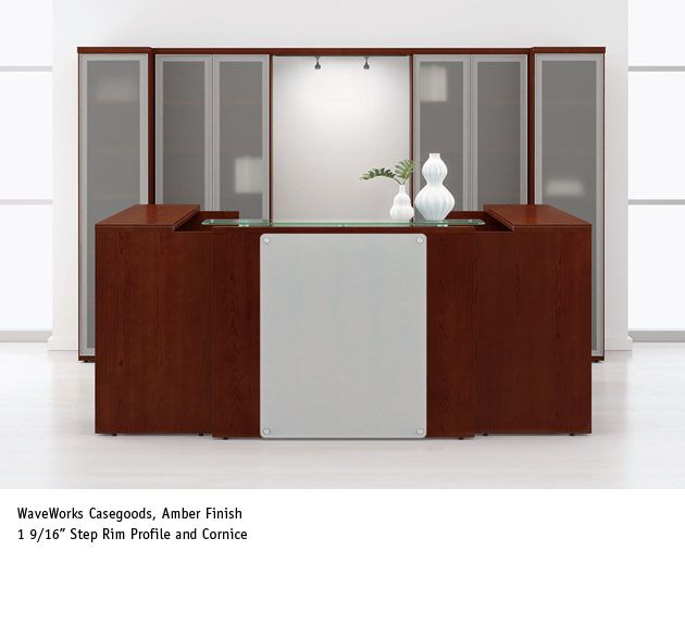 National Office Furniture Waveworks Reception Casegoods