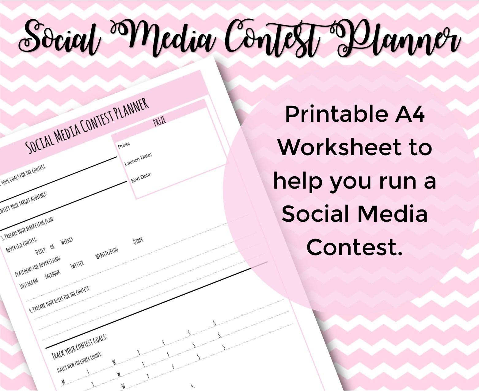 Social Media Contest Planner Printable Worksheet Social