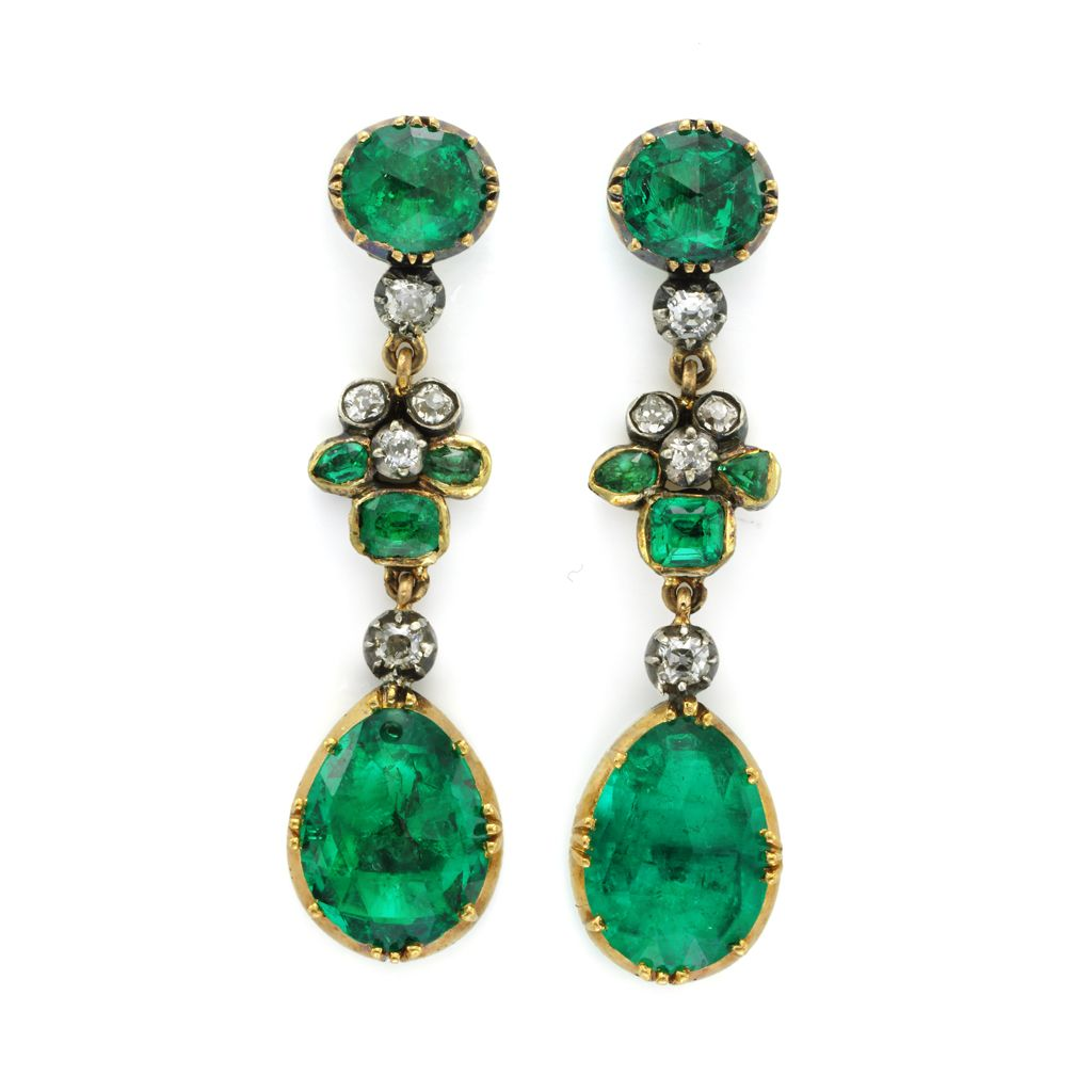 Pair of Antique emerald and diamond earrings, circa 1830