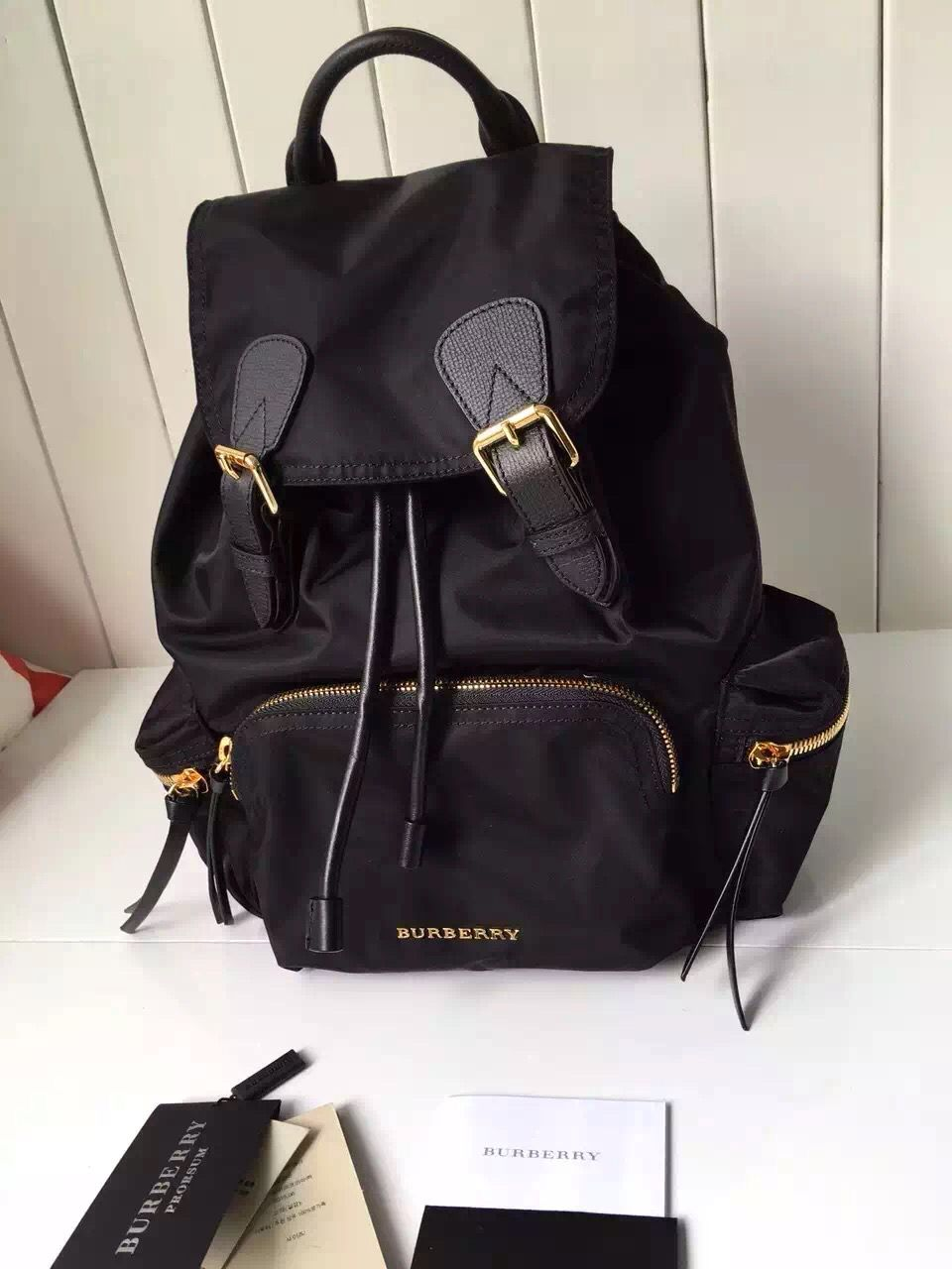 Burberry Medium Rucksack In Technical Nylon And Leather Backpack Black c39faa76188f5
