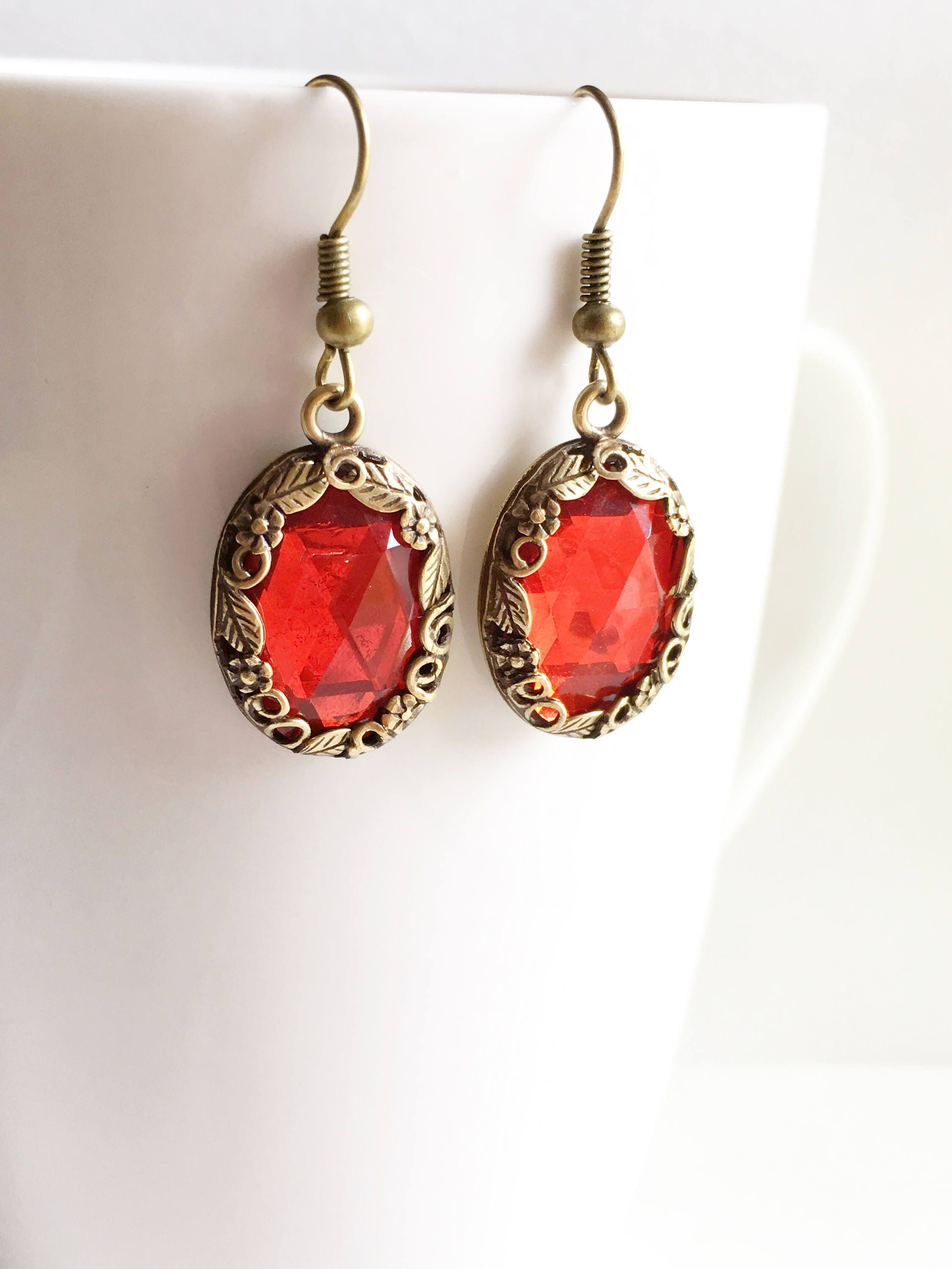 Red Earrings Dangles Cameo Reign Jewelry Tudor