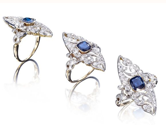 An exclusive Art Deco Sapphire-Diamond Ring circa 1920, Platinum / Gold (hva)