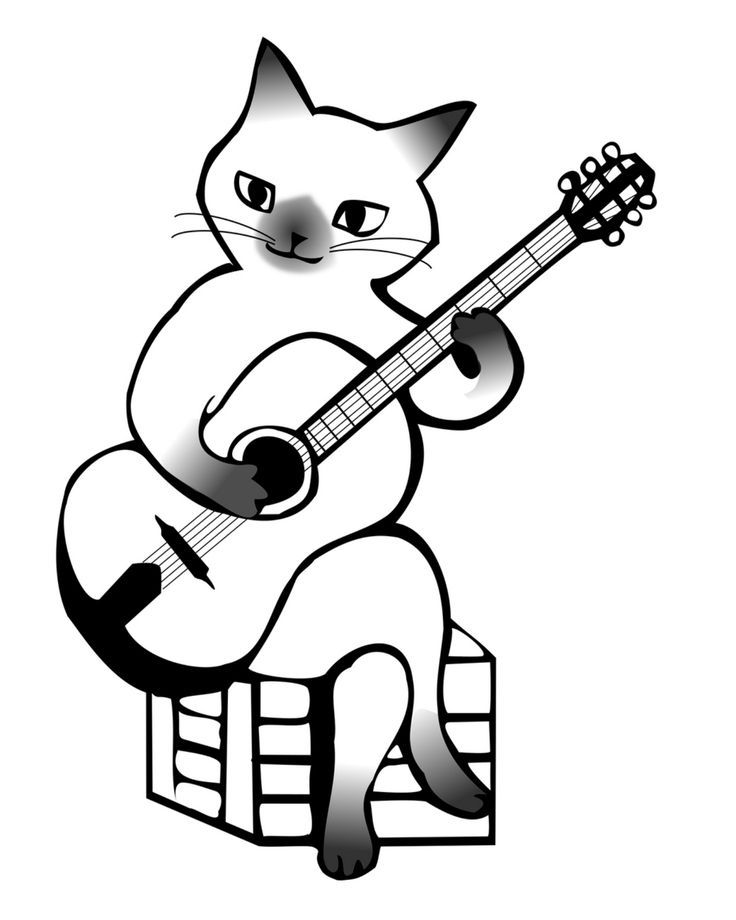 Cat playing a guitar coloring page cat coloring page