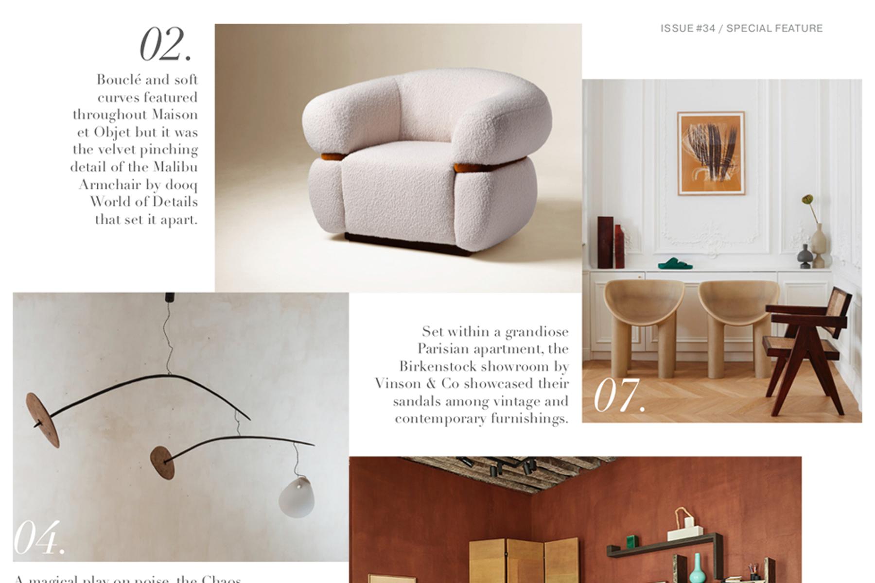 Malibu Armchair in Est Living Magazine, Paris Design Week 2019. #dooqdetails #cabniet #editorial #magazine #feature #FindItStyleIt #SMMakeLifeBeautiful #SODomino #JungalowStyle #HowIHaven #IDCOatHome  #OneRoomChallenge #CurrentDesignSituation #ApartmentTherapy #HouseEnvy #MyDomaine #InMyDomaine #LonnyLiving #DesignSponge  #FindItStyleIt #MakeTimeForDesign #HowWeDwell #CurrentDesignSituation #SimplyStyleYourSpace #VogueLiving #MySMPHome #MyOKLStyle #InspoToYourHome #Interior_and_Living