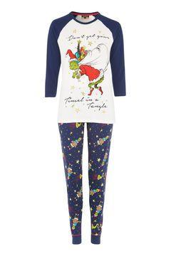 Primark Ladies Grinch Pyjamas PJs Set Top Bottoms Nightwear Pyjama Xmas  Gift Box  d8446d2a5