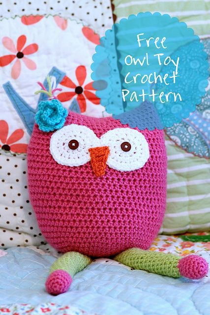 Daisy Cottage Designs Crochet Owl Toy Pillow Free Pattern Owl