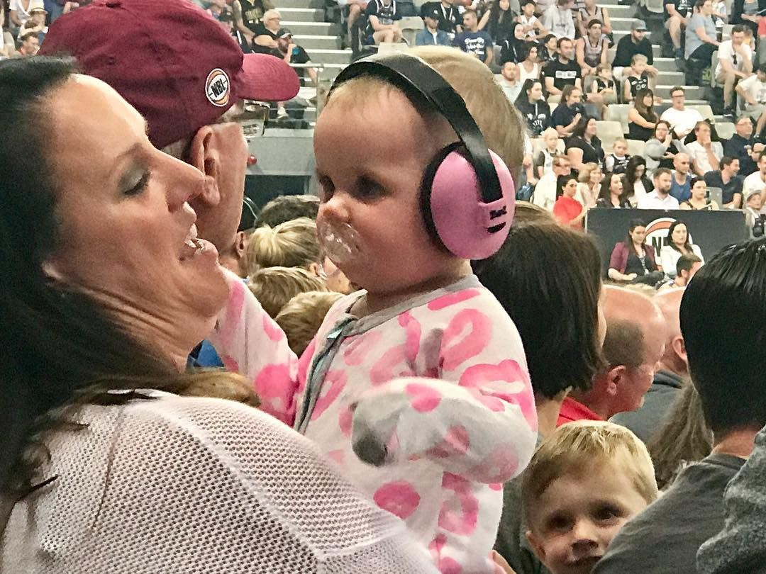 Taking hearing protection seriously. I hadn't though of Basketball at #hisensearena being a hearing hazard. But I'm glad to see this mother is taking her child's hearing health seriously with colour co ordinated jump suit and earmuffs. #hearingprotection #earmuffs #wearemelbourne  #melbourneunited #brisbanebullets #occupationalhealthandsafety