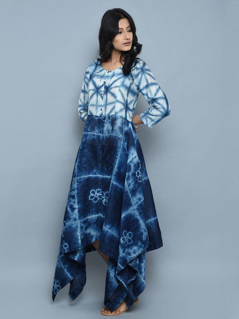 Indigo Chanderi Asymmetrical Dress  115254bfae