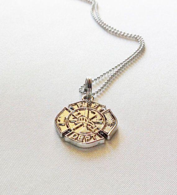 Firefighter Maltese Cross Emblem Necklace Charm Pendant