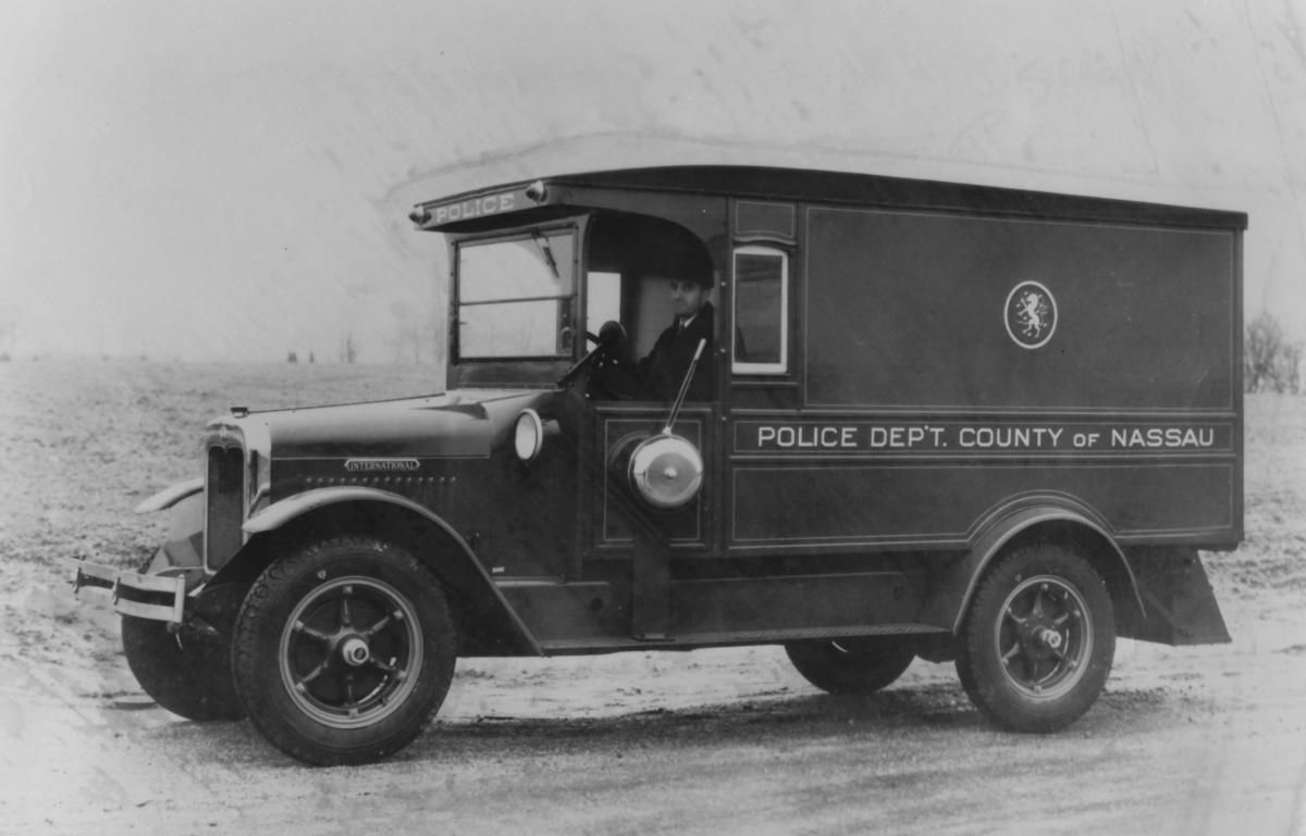 An early 1900s Nassau County police van. Credit Newsday