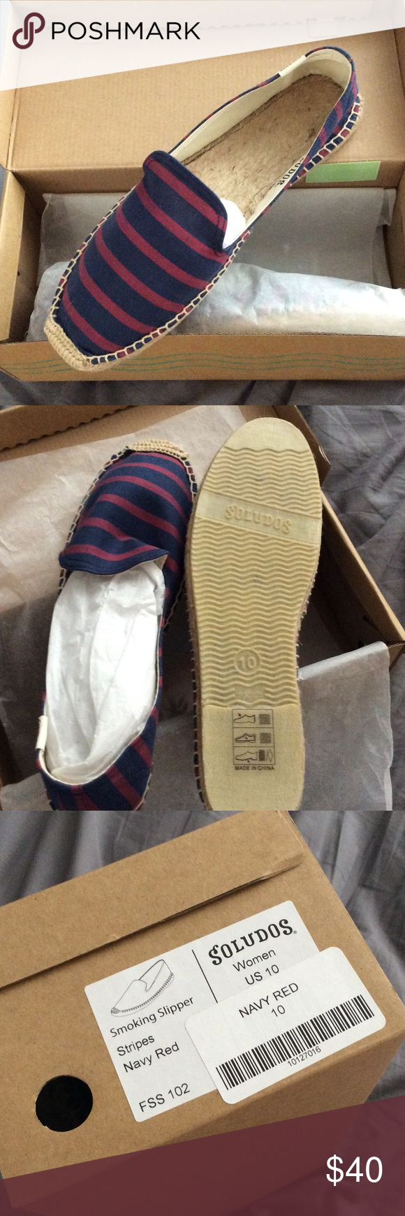 Soludos Smoking Slippers Brand new. Never worn. Navy & Red stripes. Original packaging. Soludos Shoes Flats & Loafers