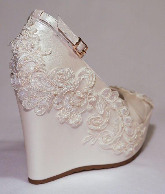 wedding wedding wedge shoes bridal wedge by kilig design on etsy