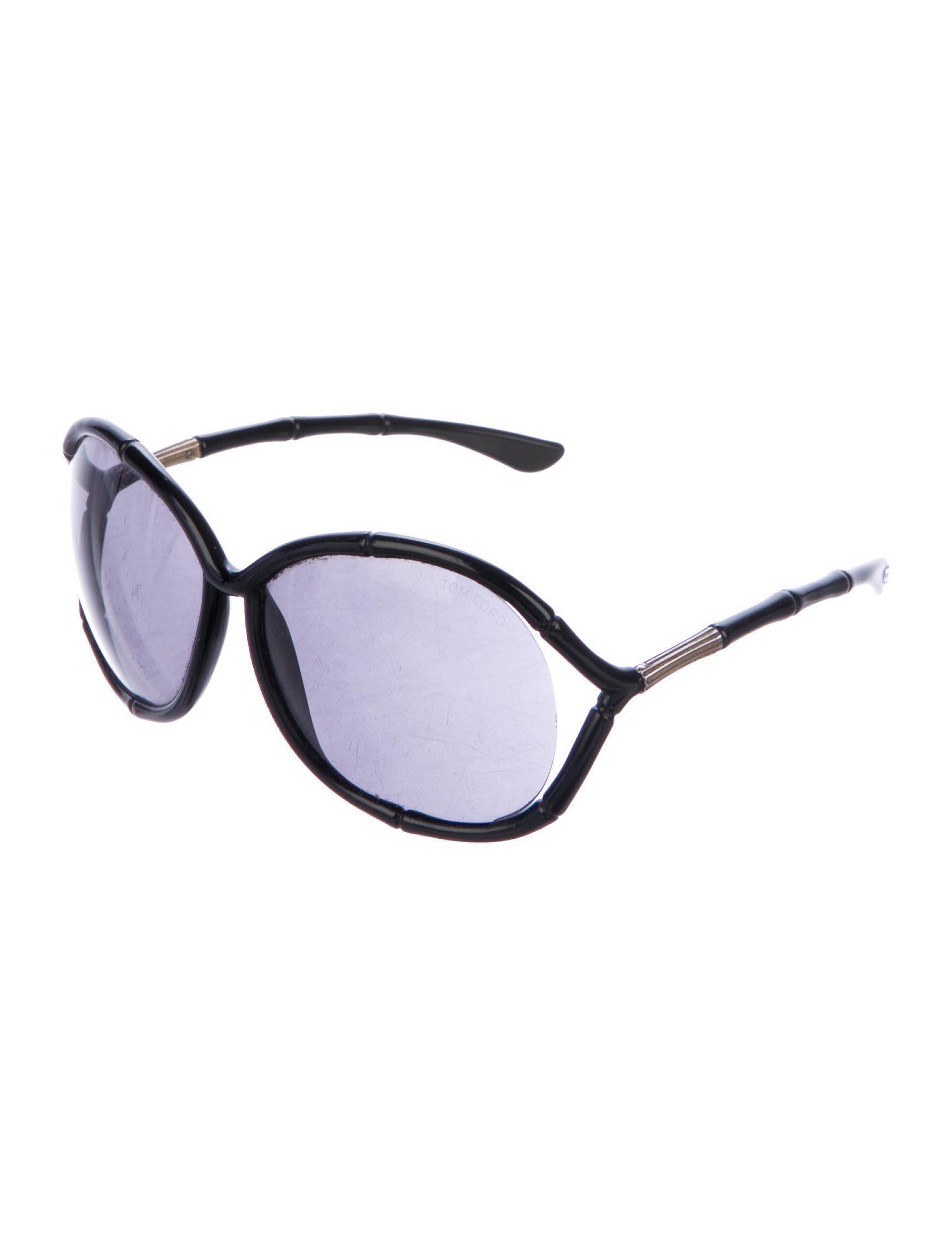 3d0323fbe7d Black acetate Tom Ford Claudia oversize sunglasses with black lenses
