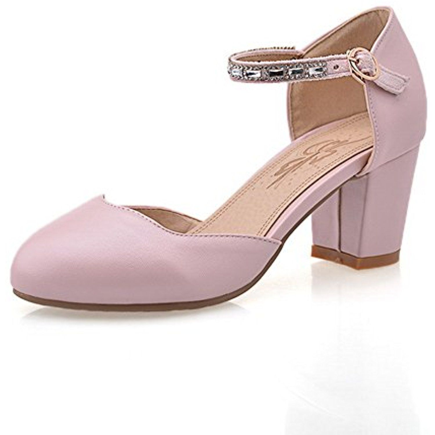 Women's Round Closed Toe High Heels Solid Buckle Pumps Shoes