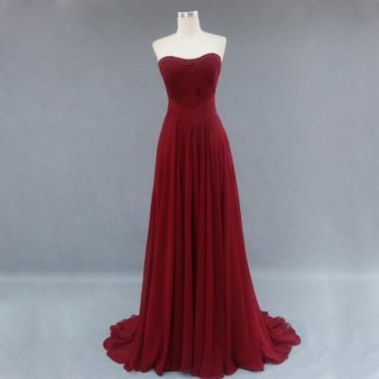Charming HIgh Quality Simple Burgundy Prom Dress