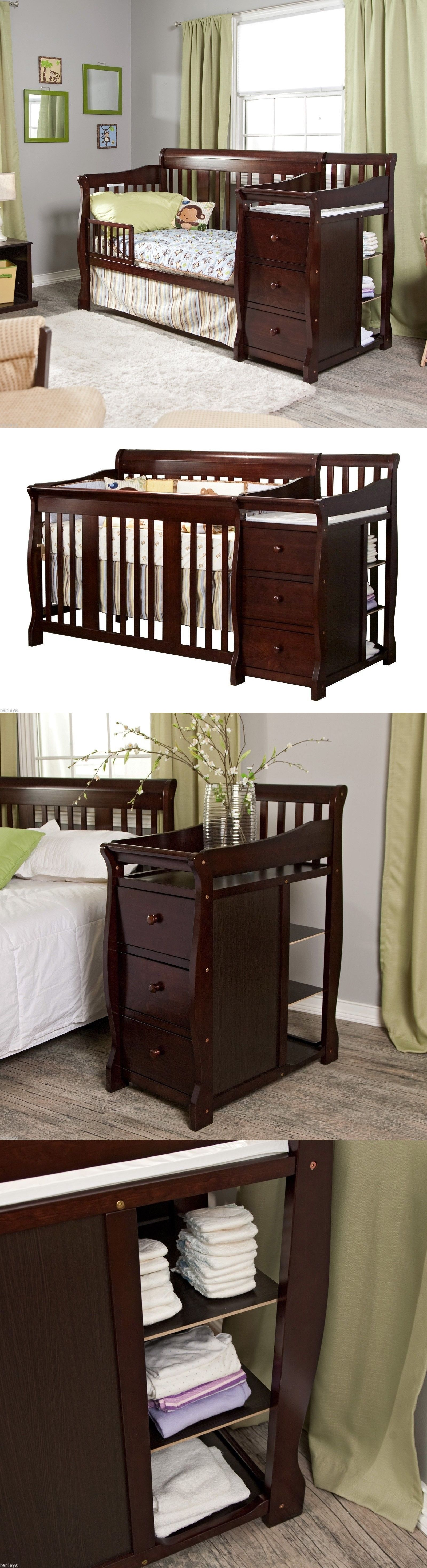 Cribs 2985: 4 In 1 Side Convertible Crib Changer Nursery Furniture ...